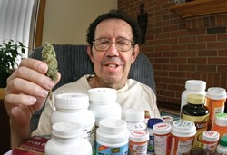 ROCKY ROAD TO RECOVERY:  With the help of medicinal cannabis, which he eats in chocolate brownies, Don Hornaday has cut his intake of pharmaceuticals by about 30 percent. The Grover Beach resident hopes to find more alternative remedies to the debilitating symptoms of Parkinson's disease. - CHRISTOPHER GARDNER