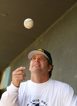 UP IN THE AIR :  Despite growing popularity, ongoing financial problems and battles with the city keeps the future of the Blues perpetually in question. Owner Tim Golden says he's willing to risk it all to prevent baseball from slipping away from San Luis Obispo yet again. - PHOTO BY CHRISTOPHER GARDNER
