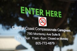 CLOSED DOOR :  Central Coast Compassionate Caregivers, a medicinal marijuana dispensary, has ended operations at its location in Morro Bay. On March 29, members of the U.S. Drug Enforcement Administration and the SLO County Sheriff's Department served a warrant and seized a number of items, including marijuana plants. - FILE PHOTO BY JESSE ACOSTA