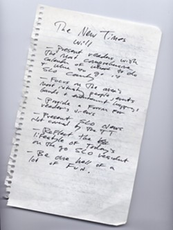 BIRTH OF A NOTION :  Founder Steve Moss scribbled some thoughts about New Times on a scrap of paper a common birthplace for ideas from geniuses.