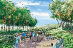 INSECT APPEAL :  The Dalidio plan calls for shoppers to stroll along meandering walkways amid a grove of eucalyptus trees housing Monarch butterflies. - RENDERING COURTESY OF ERNIE DALIDIO