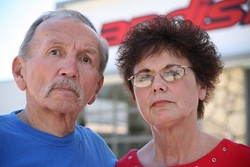 JUSTICE FOR ALL :  Pat and Sue Gaughans' plans for retirement went up in smoke after they say the city forced them to sell their property on El Camino Real, directly across from the Carlton in Atascadero. - PHOTO BY JESSE ACOSTA