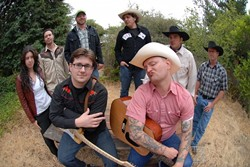 GET ROOTSY :  Members of Pennyjar and Red Eye Junction (above) will joins forces, as will the Hydramatics and the Ghosts of Guadalupe (not pictured) for Downtown Brew's Grass Roots Tuesday on Oct. 16. - PHOTO BY MATT PETERSON