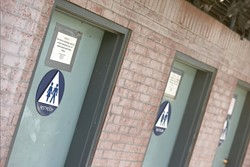 USE THEM, IF YOU CAN :  City bathrooms tend to lock up by 5 p.m. Anyone who uses a street or bush as a de facto bathroom after finding the facilities locked is risking a citation from the San Luis Obispo Police Department. - PHOTO BY STEVE E. MILLER