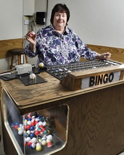 CALL IT OUT! :  Betty is president of the Central Coast Senior Center, where New Times staffer Christy Heron helped with regular Bingo games. - PHOTO BY STEVE E. MILLER