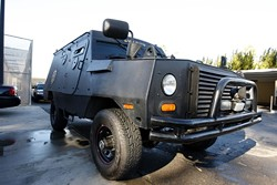 FOUR MORE WHEELS :  The San Luis Obispo County Sheriff's Department will soon acquire a second vehicle to combat any potential terrorists targeting the Diablo Canyon nuclear power plant. Pictured is the county's exiting armored vehicle. - PHOTO BY STEVE E. MILLER