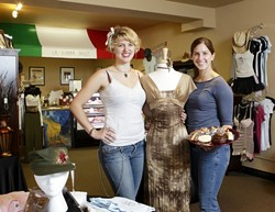 SISTER ACT :  Morgan (right) and Rhiannon Mistretta have something for sweet teeth and fashion bugs at their Morro Bay location, Romanza Apparel and Sweet Shoppe. - PHOTO BY STEVE E. MILLER