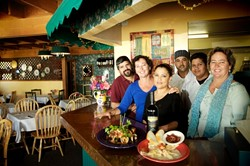 ONE BIG FAMILY :  The staff at Ginas Italian Cuisine in Arroyo Grande includes (left to right) Manuel Estrella, Susie Diggins, Micaela Heredia, Miguel Zambrano, Ramone Larios, and Hilary Kuphal. - PHOTO BY JESSE ACOSTA