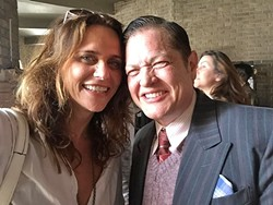 TRANS ACTOR:  'Transparent' co-star Amy Landecker (left) took this selfie onset with RawfeyL (right) costumed in a vintage 1930s suit for one of his appearances on the Amazon TV series. - PHOTO BY AMY LANDECKER