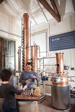 SPIRITED AWAY:  Pictured, the distillery at Re:Find in Paso Robles. Eight Paso Robles craft distilleries will shake up wine country with a mix of locally crafted artisinal booze, eats, and music at the Paso Robles Inn Ballroom this Feb. 27. - PHOTO COURTESY OF PASO DISTILLERY TRAIL