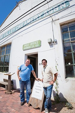 KING OF THE TOWN:  Third-generation dairy farmer and Harmony Valley Creamery Owner Alan Vander Horst (left) aims to restore and refresh Harmony's historic creamery building with a restaurant serving up Swiss-Italian grub and a creamery shop featuring fresh cheese curds and ice cream. Managing partner Tom Halen (right) provides the hospitality know-how. - FILE PHOTO BY KAORI FUNAHASHI