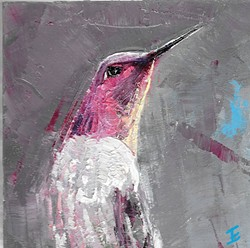 JUST PASSING THROUGH:  Jeannine Emmett catches a hummingbird zipping around in her painting 'Anna's Hummingbird.' - IMAGE COURTESY OF JEANNINE EMMETT