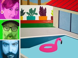"""CANNONBALL CONTEST!:  (From top to bottom, left) Hayley """"H-Bomb"""" Cain, Dr. Reid """"Crusher"""" Cain, and Gabriel """"Crusher"""" Olivarria are Hayley and the Crushers, playing Sally Loo's on July 23, in conjunction with an art show of Neal Breton's pool-themed work. - PHOTO COLLAGE BY REID CAIN"""