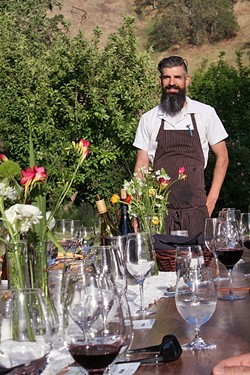 WORK WITH NATURE:  During Thomas Hill Organics' first Table to Farm Dinner held in late April, Executive Chef Tim Veatch worked with the spring bounty provided by Windrose Farm in Paso Robles. - PHOTO BY HAYLEY THOMAS