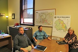 A-TOWN TEAM:  Public Works Director Nick DeBar (left), Community Development Director Phil Dunsmore (center), and Deputy City Manager Terrie Banish (right) are all new Atascadero employees working to boost the city's economy and infrastructure. - PHOTO BY DYLAN HONEA-BAUMANN
