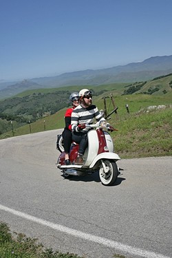 PREFUMO CANYON PERFECTION:  Curtis and Jesse Campbell ride their vintage Lambretta scooter through the hills of SLO County. - PHOTO BY GLEN STARKEY