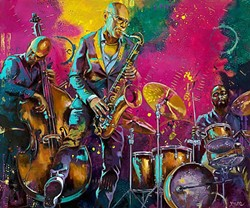 ALL ABOUT THAT BASS:  Artist Colleen Gnos, who also plays bass in the band Fox and Rice, often features other bass players in her jazz-inspired paintings, like 'Spontaneous Groove.' - IMAGE COURTESY OF COLLEEN GNOS