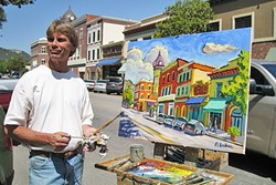 TA-DA!:  Ken Christensen painted the historic acorn clock tower in downtown Paso Robles in 2009 during the Quick Draw event at the inaugural Paso ArtsFest. - PHOTO COURTESY OF KEN CHRISTENSEN