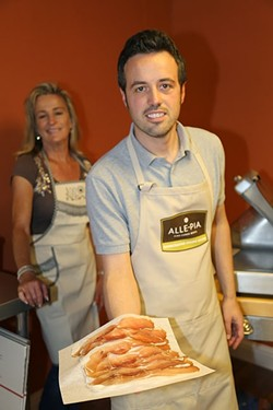 MADE WITH LOVE:  Alex Pellini of Alle-Pia Fine Cured Meats spends his days mixing spices, aging pork, and ensuring quality control at his uncle's Atascadero cured meats processing facility and Emporio. - PHOTO BY DYLAN HONEA-BAUMANN