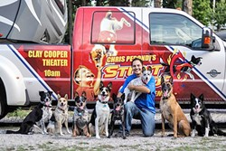 A FURRY FAMILY:  Chris Perondi's, of the famous Stunt Dog Experience, four-legged show biz family currently includes more than 20 dogs. - PHOTO COURTESY OF CAL POLY PERFORMING ARTS CENTER