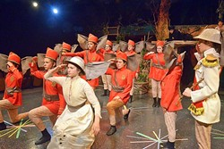 IN A MILITARY STYLE :  The disciplined, marching troop of elephants led by Col. Hathi (Eliana Nunley, far right) stole the show on opening night of 'The Jungle Book' on July 15. - PHOTO COURTESY OF JAMIE FOSTER PHOTOGRAPHY