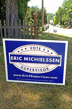 SIGN SNATCHERS:  An estimated 40 to 50 yard signs supporting Eric Michielssen, a candidate for the 5th District of the SLO County Board of Supervisors, went missing on May 7 in parts of North County. The Michielssen campaign provided replacement signs the following day, like the one pictured, which is on I Street in Santa Margarita. - PHOTO BY PETER JOHNSON