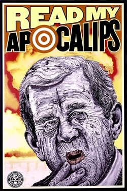 """WE MEET AGAIN:  George W. Bush, who is featured in the piece 'Apocalips,' is a frequent subject matter for Conal. """"I certainly did way too many paintings of George Bush, because he was so terrible,"""" he said. """"You know—so many bad guys, so little time."""" - IMAGE COURTESY OF CUESTA COLLEGE"""
