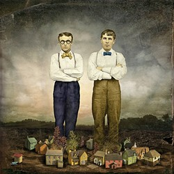 THE BIG GUYS UPSTAIRS:  'The Architects' by Maggie Taylor started with an 1870s tintype photo of two men standing side by side that the artist came across. Taylor added in the homes below by scanning in miniature houses. - PHOTO COURTESY OF MAGGIE TAYLOR