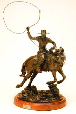 LASSO 'EM UP:  In the bronze piece Buckaroo, Pat Roberts captures the movement of a cowboy riding his horse and trying to lasso up a cow. - PHOTO COURTESY OF PAT ROBERTS
