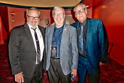 MALTIN!:  Famed film critic, film historian, and author Leonard Maltin (center) was kind enough to pose for a photo with me (left) and fellow film aficionado Bob Whiteford. - PHOTO COURTESY OF GLEN STARKEY