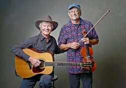 FOLK LEGENDS :  Award-winning guitarist Mark Heyes and champion fiddler Phil Salazar will team up to play a Red Barn concert on Aug. 6. - PHOTO BY CHRIS JENSEN