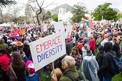 SPEAKING OUT:  Many of the recent protests in SLO were direct responses to actions taken by the newly elected administration of President Donald Trump. - PHOTO BY JAYSON MELLOM