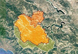 PARCHED FUEL:  The last major wildfire to strike Lake Nacimiento was the Weferling Fire in 1960 (outlined in white), which burned 51,451 acres. The Chimney Fire (shown in red) had torched 40,798 acres as of Aug. 24. - SOURCE: CAL FIRE, WILDFIRE TODAY/USFS; MAP COURTESY OF GOOGLE MAPS; GRAPHIC BY ALEX ZUNIGA