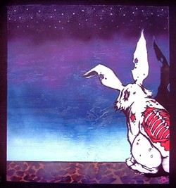 SOME BUNNY'S NOT SO ALIVE:  This decaying, possibly zombie bunny stenciled by Silas Corley is reflective of his signature style, which riffs on the contrast of death and fun, bright colors. - IMAGE COURTESY OF SILAS CORLEY