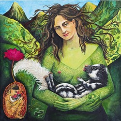NURTURE:  A goddess-like character nurses a skunk in Arizona-based artist Irene Hardwicke Olivieri's piece 'Supper for the Spotted Skunk.' - IMAGE COURTESY OF CUESTA COLLEGE
