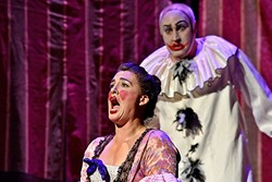 SINGING OUT LOUD:  Soprano Katharine Gunnink as Nedda sings opposite Tenor David Gustafson as Canio in OperaSLO's production of Leoncavallo's Pagliacci at the Cal Poly PAC in 2015. - PHOTO COURTESY OF LUIS ESCOBAR REFLECTIONS PHOTOGRAPHY STUDIO