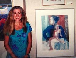 FLASHBACK:  Local artist Gini Allen Griffin stands by her piece Double Doña in 1998 at SLOMA. The work is now part of the museum's permanent collection. - PHOTO COURTESY OF GINI ALLEN GRIFFIN