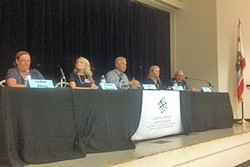 MAKING THEIR CASE:  Five candidates seeking seats on the Arroyo Grande City Council answered questions on homelessness and other issues at a recent candidates forum. - PHOTO BY CHRIS MCGUINNESS