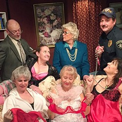 OOH LA LA!:  The cast of Nana's Naughty Knickers, from left to right: (back row) Gil Schmidt (Gregory Schoonover), Heather Van Pree (Mindy Rains), Claire Schmidt (Barbara Roche), Tom O'Grady (Derek Ehinger), Vera Walters (Joyce Calderone), Sylvia Charles (Barbara McKee), and Bridget Charles (Rayna Ortiz). - PHOTO COURTESY OF PEWTER PLOUGH PLAYHOUSE