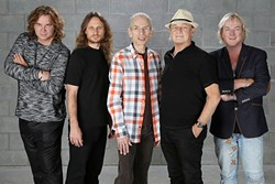 DRAMA AND TOPO TALES:  Yes—(left to right) Billy Sherwood, Jon Davison, Steve Howe, Alan White, and Geoff Downes—will play Drama in its entirety and two sides from Tales of Topographic Oceans at Vina Robles Amphitheatre on Sept. 3. - PHOTO BY GLENN GOTTLIEB