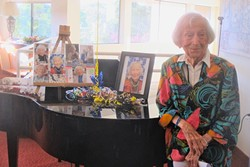 STILL COUNTING:  Las Brisas Retirement Community resident Mary Goins recently celebrated her 102nd birthday. - PHOTO BY KATRINA BORGES