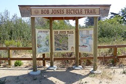 THE MORE YOU KNOW:  This kiosk near the LOVR overpass explains the history of the Bob Jones Trail, the health of the nearby creek, and what to do if you encounter a mountain lion. Oh my! - PHOTO BY GLEN STARKEY