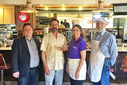 THE LITTLE THINGS:  (From left to right) In the short film 'One with Everything,' stressed out ad executive Matt (Brent Mark) gets a new perspective on life when he stops at Margie's Diner in SLO for a burger and meets the ever-calm Sid (John Marrs). Valerie Pallai and Rob play the establishments' waitress and chef. - PHOTO COURTESY OF BRYAN DUGGAN
