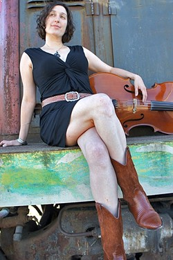 CELLO CHICK:  Dirty Cello, fronted by Rebecca Roudman (pictured), brings their bluegrass sounds to Lazy Arrow Adventures on Aug. 11. - PHOTO COURTESY OF REBECCA ROUDMAN AND DIRTY CELLO