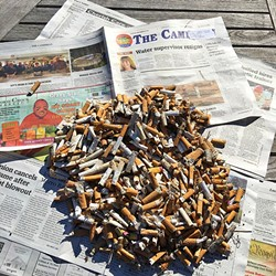 TRASHY:  One California Coastal Cleanup Day volunteer spent an hour on Sept. 17 picking up cigarette butts from Moonstone Beach in Cambria. - PHOTO COURTESY OF ECOSLO