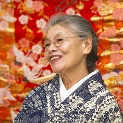 MASTER KIMONO MAKER:  Tsuyo Onodera, a master kimono maker from Japan, teaches students at SLOMA how to make a summer kimono or yukata. Onodera will also speak at the fashion show, Art Becomes You: Kimono Style, at the museum on March 12. - PHOTO BY JAYSON MELLOM