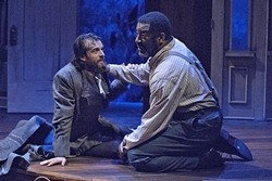 BRUTAL TRUTHS:  Caleb DeLeon (Matt Koenig) and Simon (Derrick Lee Weeden) revisit their shared past in the days following the end of the Civil War. The two men keep dangerous secrets from each other in 'The Whipping Man.' - PHOTOS COURTESY OF LUIS ESCOBAR/REFLECTIONS PHOTOGRAPHY STUDIO