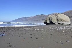 BIG ROCK:  San Carpoforo Creek Beach is one of my favorite places along Highway 1, and it's a great stop after a hike along the Big Sur coast. - PHOTO BY CAMILLIA LANHAM