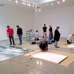 ART IN THE MAKING:  A gallery display is set up in 2015 at Cuesta College's Harold J. Miossi Gallery. - PHOTO COURTESY OF CUESTA COLLEGE