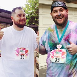 BEFORE AND AFTER:  The Run to Know More in Orcutt Park was a brightly-colored blast. - PHOTOS BY REBECCA ROSE